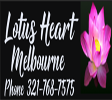Lotus Heart Melbourne Logo. Black background with white text and a pink lotus flower